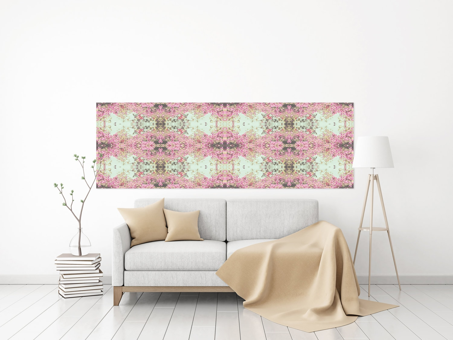 Canvas Print Panoramic Horizontal Floral Pattern Abstract