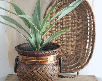 Vintage Small Woven Rattan and Brass Planter