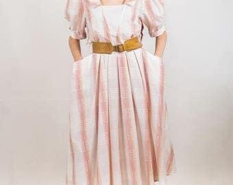Vintage 1980s summer dress,Checked summer dress, cotton dress, balloon sleeves dress, day dress cotton, pastel dress, size medium large