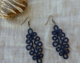 Navy blue tatted lace earrings , lace jewelry , handmade earrings , lace earrings , tatting lace