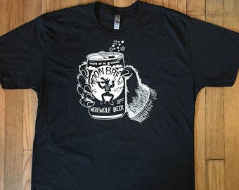 Funny Beer T-shirt, Werewolf, Halloween, Party Shirt, Beer Lover, Moon Brew, Horror, Weird, Funny Tshirt, Gifts for him, Crazy
