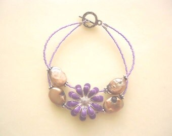 Lilac Purple Two-Strand Cuff Bracelet With Flower & Champagne Freshwater Pearls