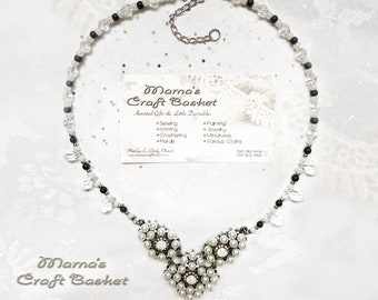 "Bride's Pride Wedding Necklace, 18"", White Pearls, Glass Crystals, Nickel Free, Bride, Women's, Ladies', Shiny, Sparkly, Glass Beads"