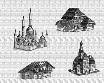 instant download,houses, scrapbooking,collage, victorian toy,farmhouse germany,mosque turkey,old townhall germany,black and white,clipart,