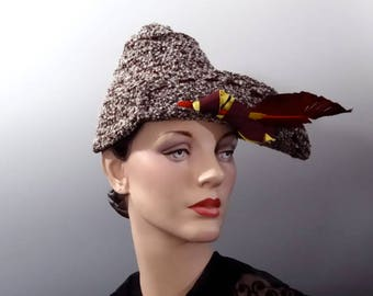 1930's Women's Tweed Hat with Large Feather and Uneven Crown - Vintage Accessories