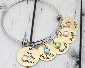 Custom You Are My Sunshine Jewelry - Gold Personalized Name Bracelet for Mom - Mom Bracelet with Kids Names - Personalized Jewelry Mom Gift