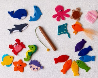 Magnetic Fishing Game, Felt Sea Animals Learning Toy, Sea Creatures with Fishing Pole - Preschool Educational Game for Toddler, Gift for Kid