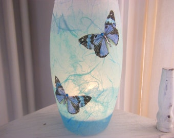 Elegant Tealight Holder/Strawsilk/ 'Butterflies' in Turquoise, Sea-Green and Pale Blue :   easter gifts, birthday, wedding, anniversary