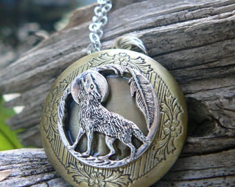 wolf locket, wolf necklace, mom, mothers day, moon necklace, tribal locket, tribal necklace, photo locket,boho, photo pendant,locket jewelry