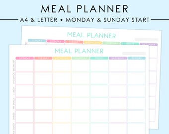 A4/LETTER Meal Planner Printable | Pastel, Meal Plan, Meal Planning, Menu Planning, Food Journal, Food Plan, Meals, Instant Download