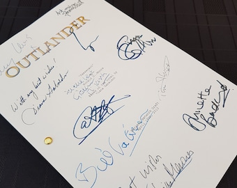 Outlander TV Script with Signatures / Autographs Reprint Pilot Unique Gift Christmas Xmas Present Film Movie Fan Geek Sam Heughan Scotland