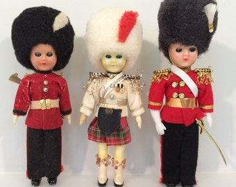 3 Vintage British Foot Guards and Scots Guards  souvenir dolls