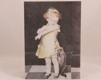 Vintage OZ Gable Hill Little Girl and Cat Get Well Card and Envelope