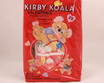 Vintage Gibson Kirby Koala Valentine Cards and Envelopes. 25 Cards