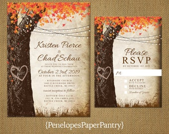 Elegant Rustic Fall Wedding Invitation,Oak Tree,Fall Leaves,Carved Heart,Carved Initials,Fairy Lights,Parchment,Antique Edges,Rustic,Custom