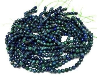 "Azurite 6mm round beads Lapis Lazuli in Chrysocolla smooth polished gemstones 15.5"" strand"