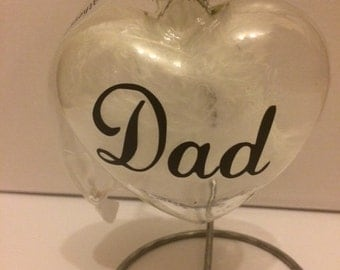Personalised Memorial bauble, Dad bauble, mum bauble, Glass Heart bauble, Personalised feather bauble, Remembrance Bauble, memorial gift