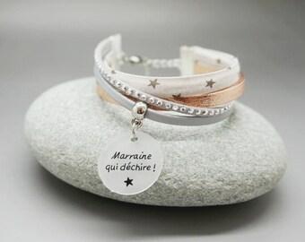 """bracelet manchette cuir liberty or rosé strass cabochon """"Marraine qui déchire"""" personnalisable"""