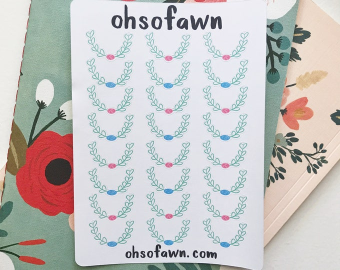Hand Drawn Floral Wreath Stickers
