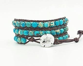 Leather wrap bracelet, turquoise bracelet, sea sediment jasper bracelet, beach bracelet, sand dollar, beach jewelry, gemstone jewelry, boho