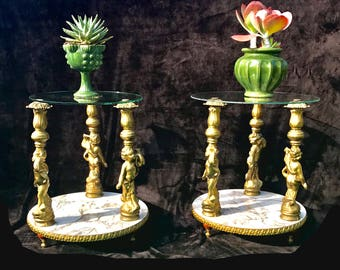 Hollywood Regency End Tables, Pair of Gold Cherub Side Tables, Round Mid Century Nightstands, Regency Plant Stands, Vintage Gold Tables