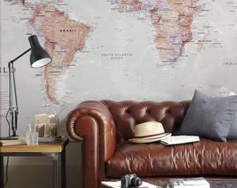 World Map Wallpaper - home decor, living room, study, map of the world, wall decal, wallpaper, bedroom, home, world map mural, Free Shipping