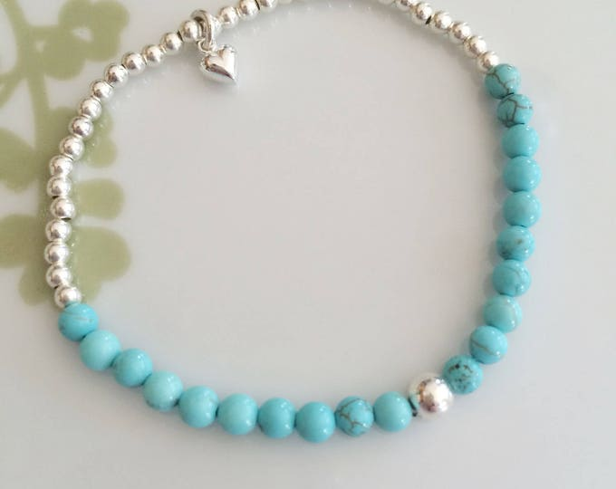 Turquoise STRETCH bracelet - Sterling Silver - December Birthstone jewelry