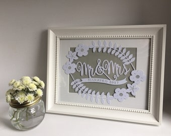 Married 2017 - or other date - Papercut/Photo frame wedding keepsake