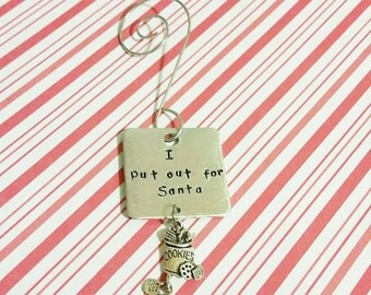 Funny Christmas ornament 2017 ornament I put out for Santa Christmas cookie ornament Santa Claus ornament milk and cookies funny christmas