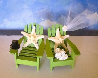 Wedding cake toppers-Greenery cake toppers-Beach chair cake toppers-Nautical chair  starfish cake toppers-cake toppers -Bride and groom top-