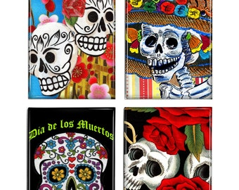 Day of the Dead Skeletons Magnets Set of 4