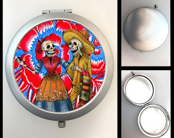 Compact Mirror Day of the Dead Skeleton Couple