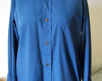 Royal blue shirt long sleeve, size 3/M, new 1980