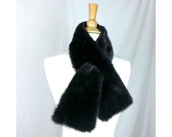 Faux Fur Scarf Vintage 90's do 60's mod / dark brown fur fake fur rockabilly shawl luxury collection women's collar winter fur scarf