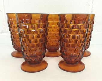 Whitehall Colony Amber Iced Tea Water Glasses Mid-Century Tumblers Vintage Glassware