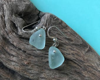 Sea foam green sea glass earrings