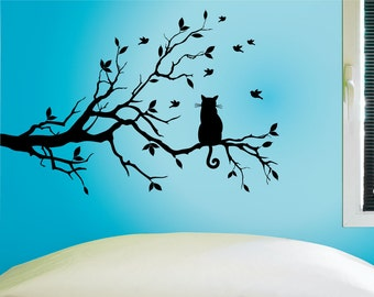 Cat In A Tree Wall Decal, Cat Wall Sticker, 0243