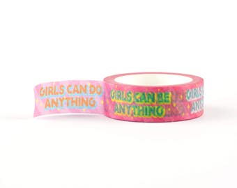 Girls Can Do Anything Washi Tape - Girl Power decorative masking tape, 10 meter, littleleftylou