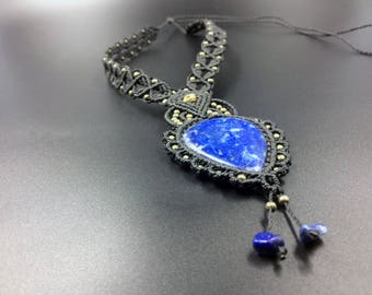 Lapis Lazuli necklace macrame