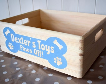 Personalised Hand Painted Wooden Dog Toy Box 30cm x 40cm x 15cm