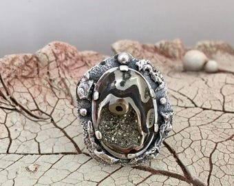 AMMONITE RING, Fossil ring, Size 9,Statement Ring, Handcrafted Ring, Gemstone Ring, Artisan Ring, 925 Sterling Silver