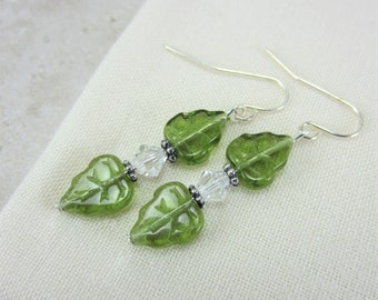 Lime Green Earrings, Green Glass Earrings, Beaded Earrings Lime Green