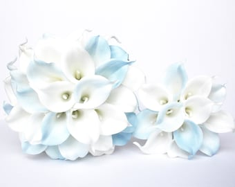 Light Blue Wedding Bouquet , Blue Wedding Bouquet , Blue and White Calla Lily Wedding Bouquet, Real To Touch Blue Bouquet