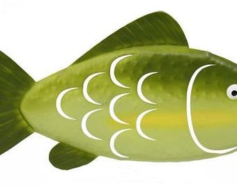 "14.25""L Metal Fish Wreath Enhancement/Fish Wall Decor/Wreath Supplies/Spring-Summer Decor/MM908109"