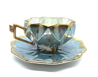Pristine Polka Dot Footed Teacup - Japanese Royal Sealy / polka dot tea cup / tea collectible / vintage lusterware / porcelain