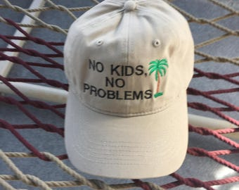 No Kids, No Problems (with a palm tree) - Khaki Hat With Black Letters