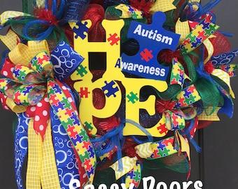Autism-Autism Awareness-AutismWreath-AutismGift-Awarness Wreath