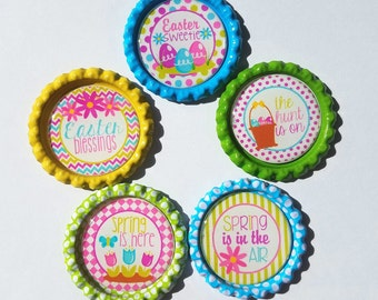 Set of 5 Easter or Spring Themed Finished Bottle Caps