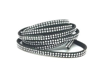 3 m suede with silver rhinestones 5mm black