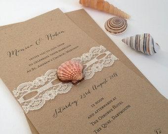 Shell Wedding Invitation, Lace Wedding Invites, Beach Wedding Invitation, Rustic Invitations